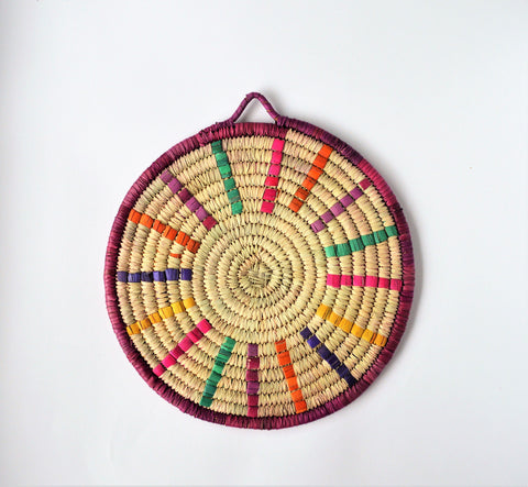 Woven Dining trivet from palm leaves (Colorful morning)