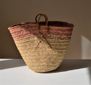 Vintage basket, Palm leaves woven basket, Pink and grey