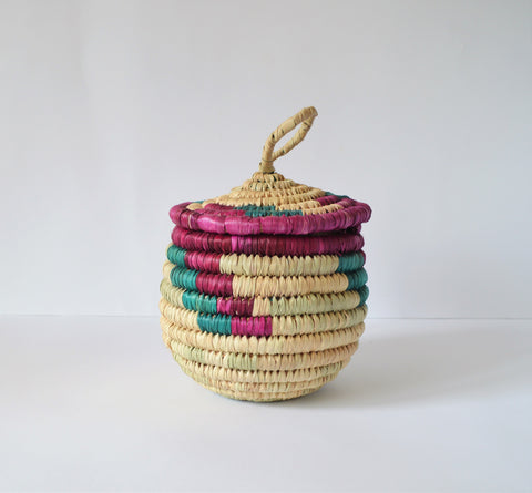 Vintage coiled basket with lid, Rustic, Bohemian
