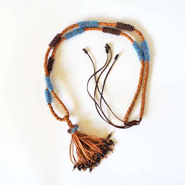 Long bohemian necklace, Leather tribal necklace, African tassel necklace, with blue beads