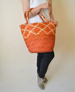 Orange straw bag, Palm leaves basket, Rhombus shape