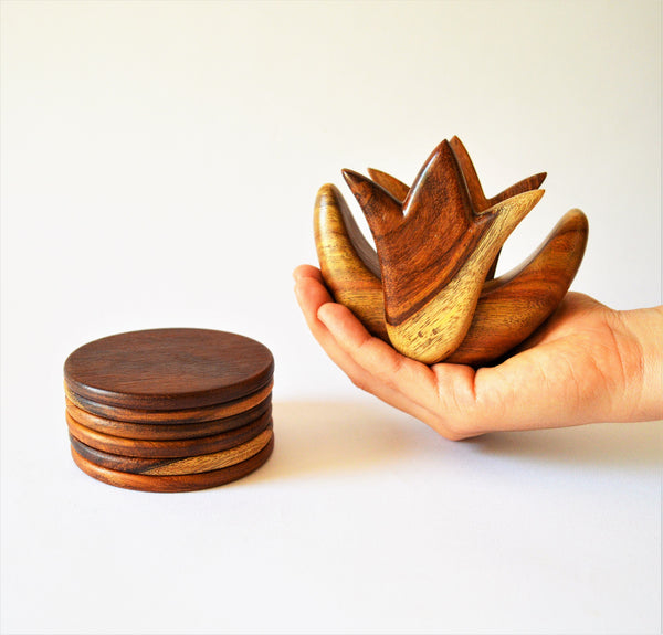 Lotus Flower wooden coasters set