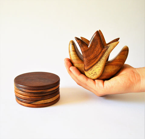 Lotus Flower rosewood coaster set
