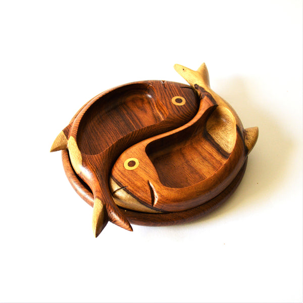 Hand-carved 2 fish platter, snack plate, jewelry plate