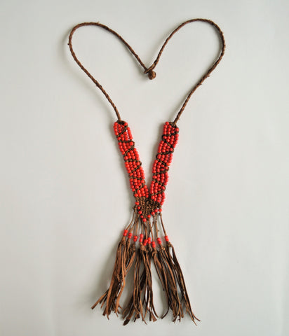 Leather necklace with red beads