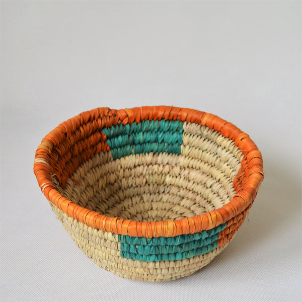Vintage straw bowl, Fruit basket, Orange