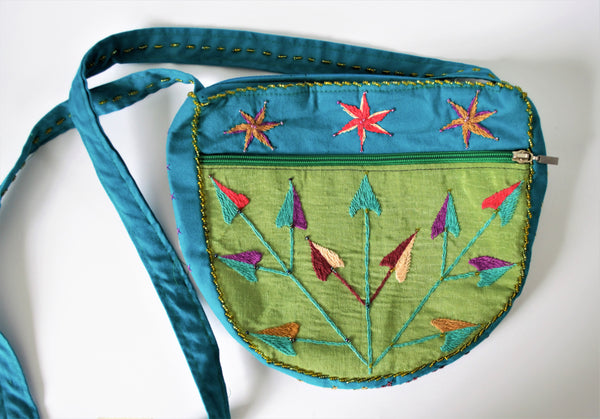 Green BOHO woman bag, Simple bag hand embroidered, Green clutch