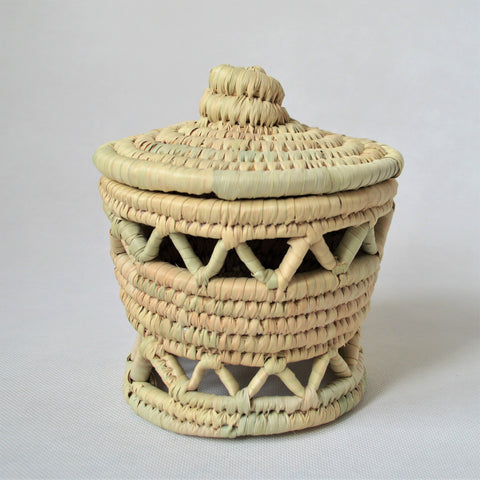Traditional woven canister, Moroccan baskets