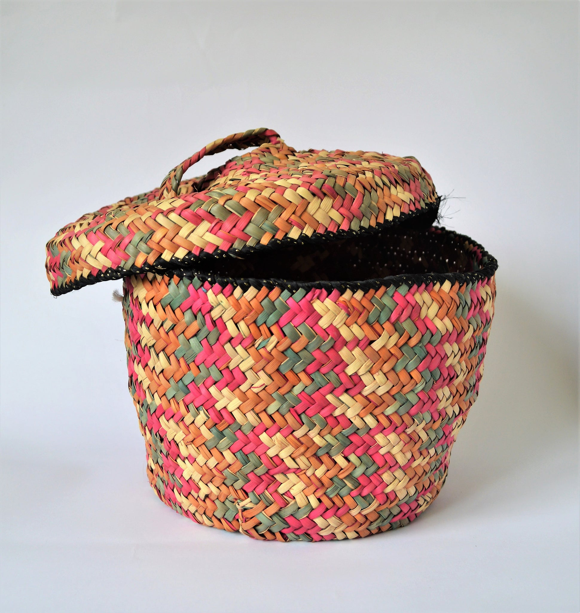 Colorful straw basket