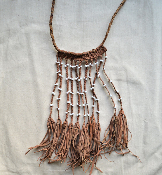 Egyptian leather necklace with white beads