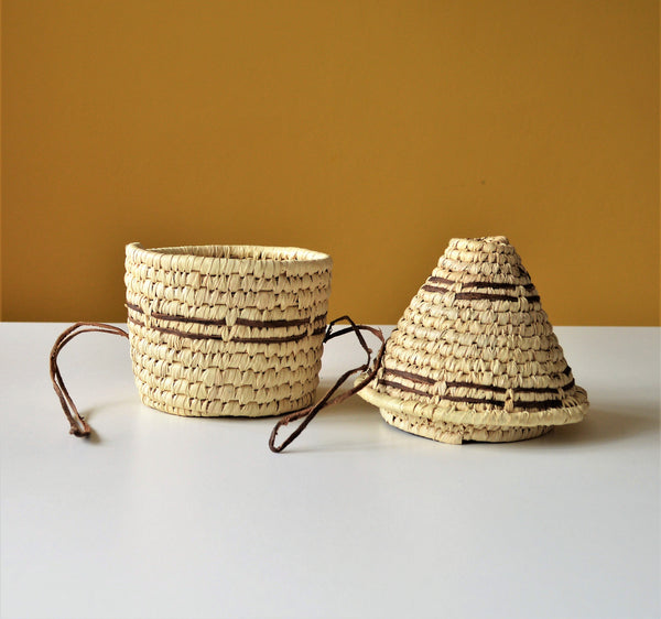 Woven palm leaf basket, Straw and leather wicker