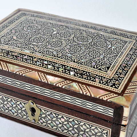 Mother of pearl jewelry box, Egypt mosaic