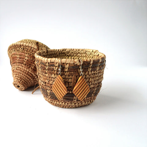 Leather & palm leaves Hand woven jewelry basket
