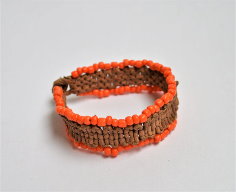 Braided leather bracelet, Beads bracelet