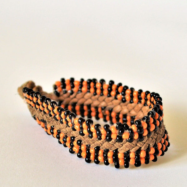 Leather bracelet orange and black beads, Boho friendship bracelet, Woven leather bracelet