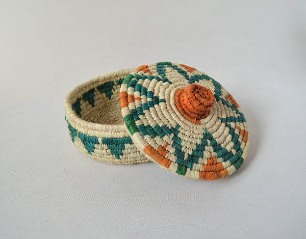 Egyptian fruit woven basket with a lid, sustainable palm straw Eco friendly gift