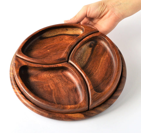 Nut platter set with three bowls