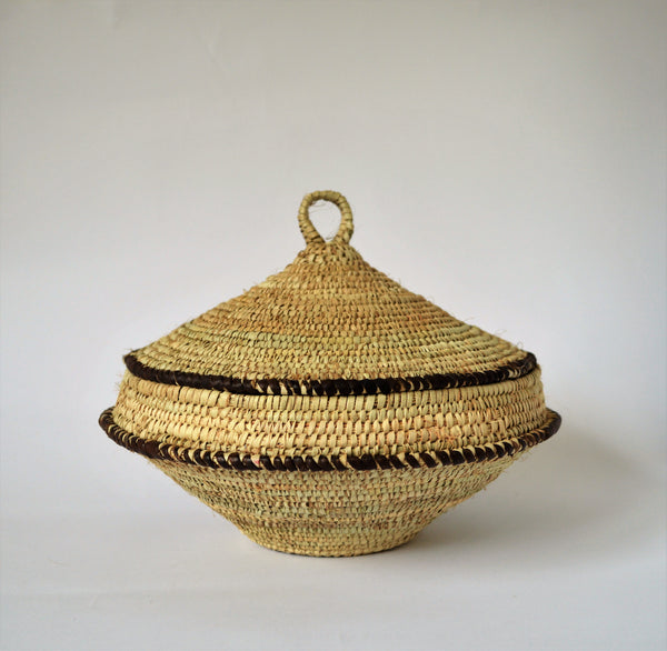 Traditional rustic woven basket with lid, Made in Egypt