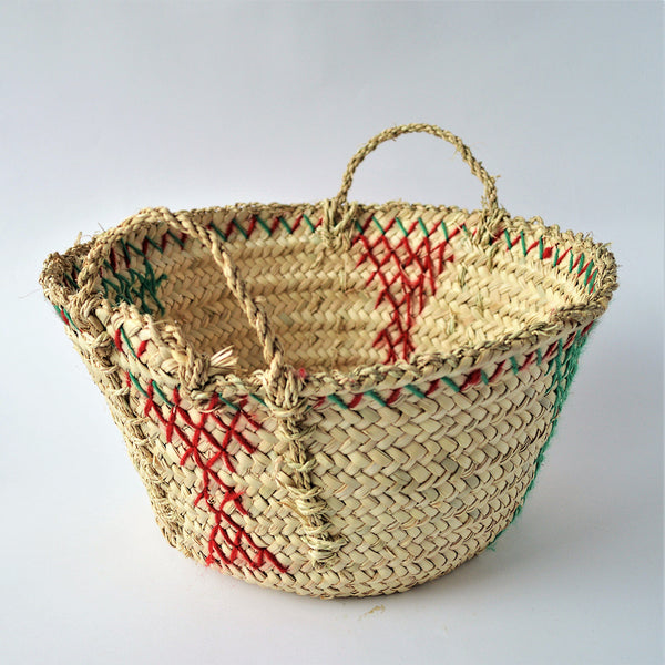 Palm leaf embroidered basket, decorative wicker bowl