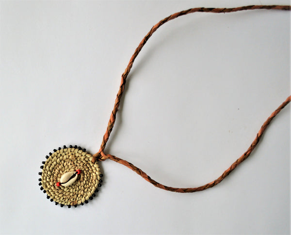 Natural leather cowrie necklace