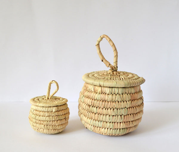 Palm leaves box, Vintage jewelry basket, Toiletry