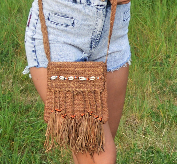 Bohemian leather bag, Fine Braided Leather