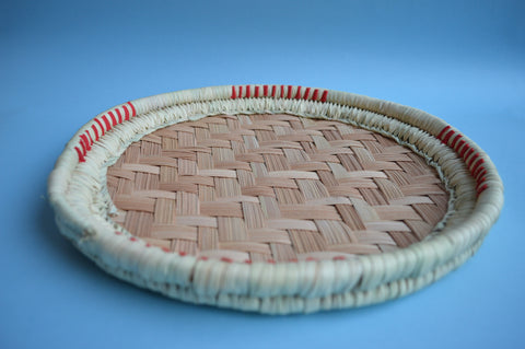 "Round Palm leaves hand woven basket 12"" with a ribbon"