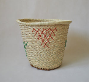 Embroidered Wide Laundry basket from natural palm straw