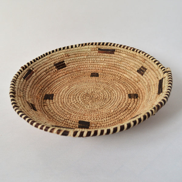 Large decor straw plate, African straw and leather wall decor plate