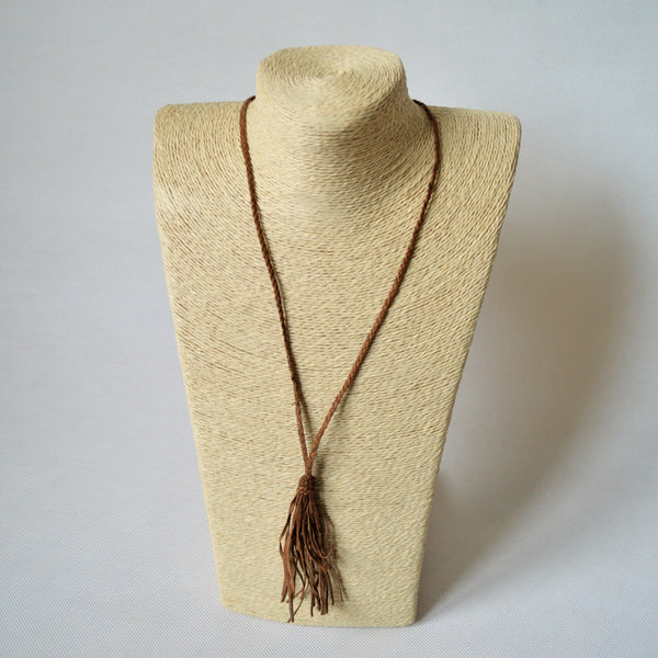 Leather tassel necklace, Braided leather necklace