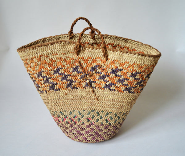 Vintage woven basket, decor basket, Orange