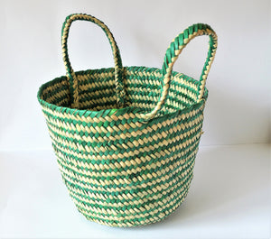 Green color palm leaf basket bag, Natural fiber market tote