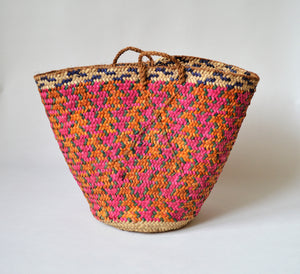 Vintage basket, Palm leaves, Pink