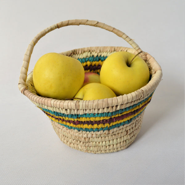 Fruit basket with handle, Organic straw bowl from Egyptian palm leaves