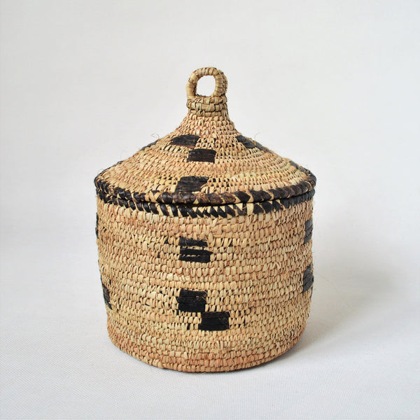 Unique Hand woven straw and leather basket