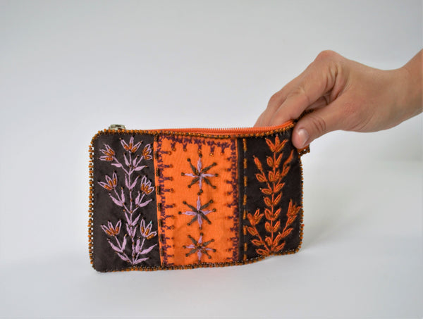 Orange purse, Leaves embroidered bag, Beaded Woman purse wallet