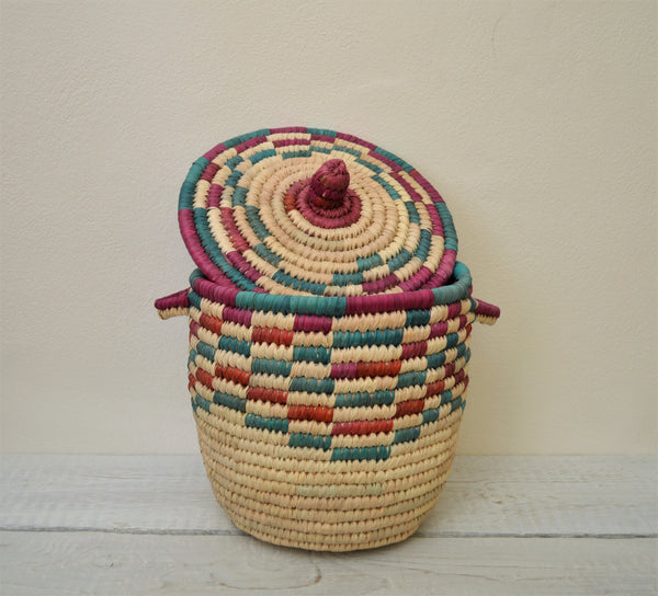Large decorative palm leaf basket (red and green color)