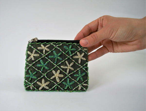 Green embroidered purse