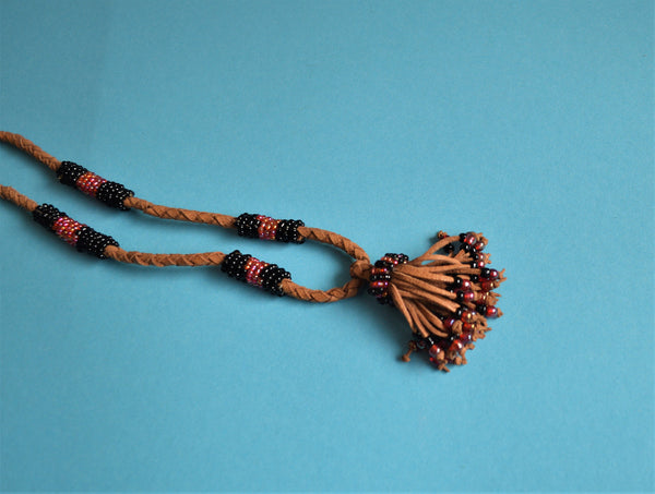 Boho tassel necklace with black beads Egyptian African jewelry