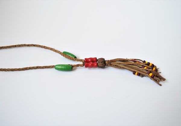 Simple boho necklace, leather necklace wooden beads, Girl jewelry