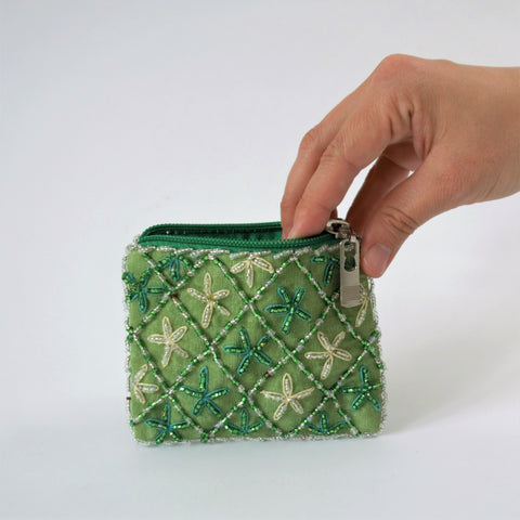 Green embroidered bag, Ethnic Egyptian, handmade purse, Bohemian