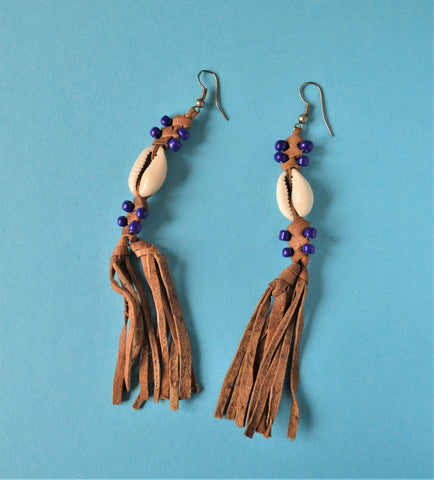 Boho earrings natural leather blue beads seashells