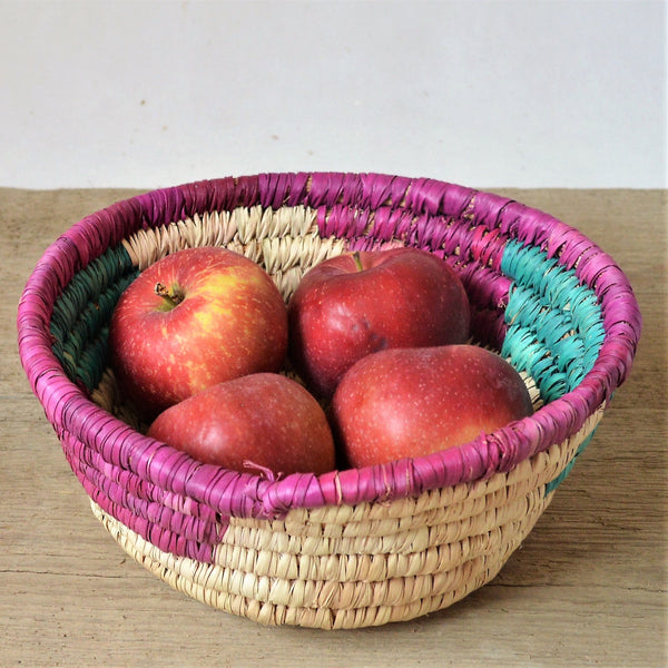 Minimal straw bowl, Vintage fruit basket