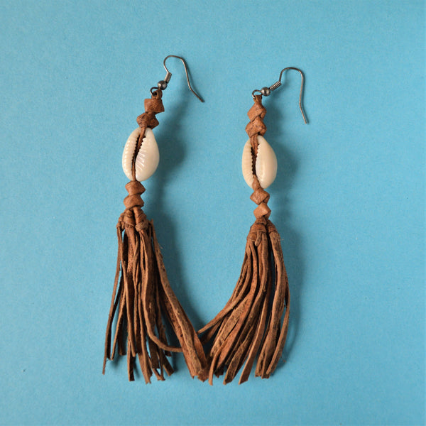 Boho leather earrings African fashion