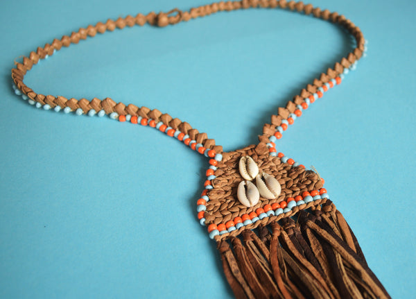 African leather necklaces with seashells
