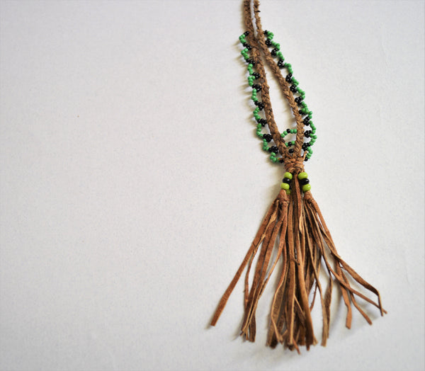 Braided leather necklace, Brown leather green beads, Bohemian tassel necklace