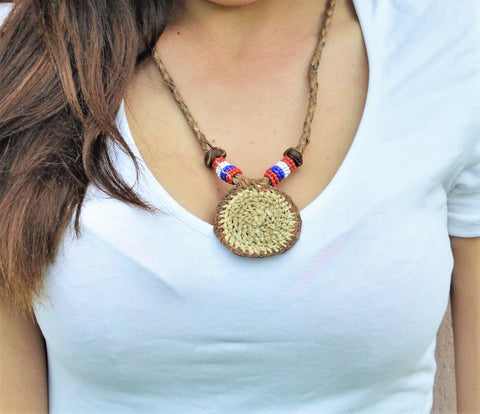 Boho leather necklace, Minimal necklace