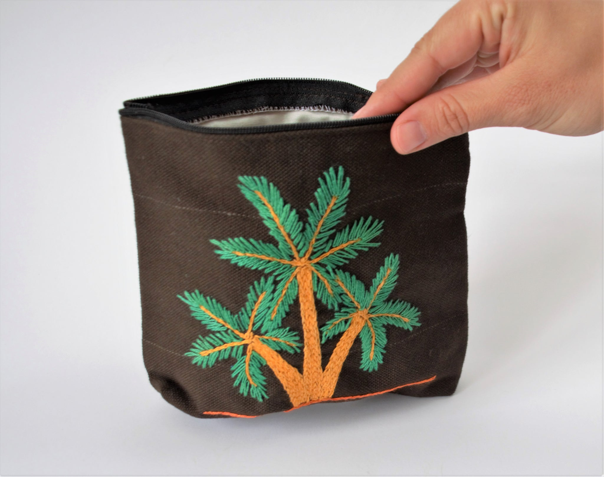Brown Hand embroidered purse, Palm tree