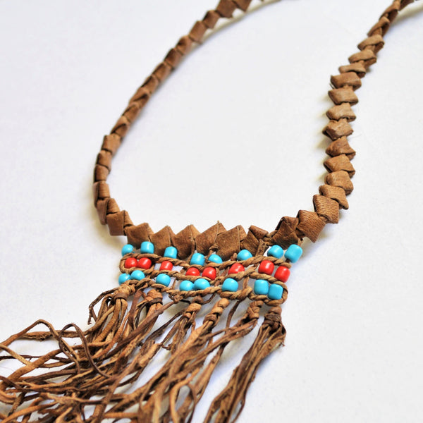 Beach necklace, Braided natural leather, Ethnic jewelry, Bohemian choker