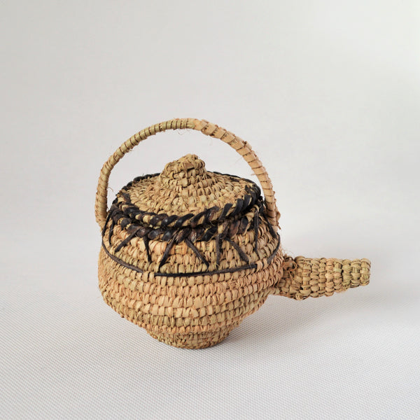 Woven straw teapot decor palm leaves with leather